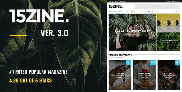 15Zine 3.3.9.3 – HD Magazine Newspaper WordPress Theme