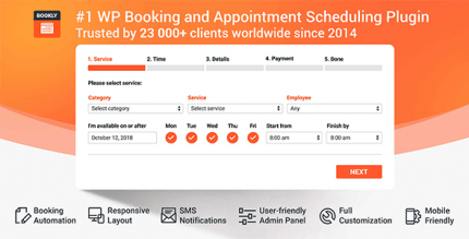 Bookly 19.7 NULLED – Responsive Appointment Booking and Scheduling + Pro Addon 3.7