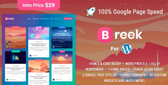 Breek 3.6.6 NULLED – Minimal Masonry Theme for WordPress