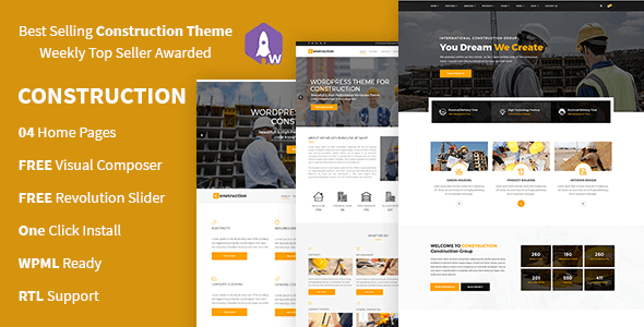 Construction 4.1 NULLED – Construction And Building Business WordPress Theme