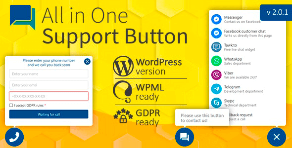 All in One Support Button 2.1.0 NULLED – Callback Request, WhatsApp, Messenger, Telegram, LiveChat and more
