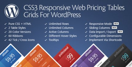 CSS3 Responsive Web Pricing Tables Grids for WordPress 11.4