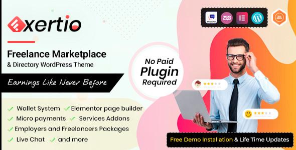 Exertio 1.0.9 – Freelance Marketplace WordPress Theme