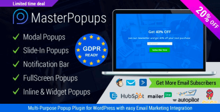 Master Popups 3.7.7 NULLED – Popup Plugin for WordPress & Popup Editor for Email Subscription
