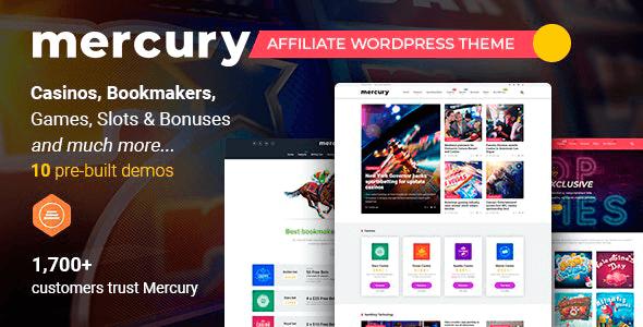 Mercury 3.6.3 NULLED – Gambling & Casino Affiliate WordPress Theme. News & Reviews