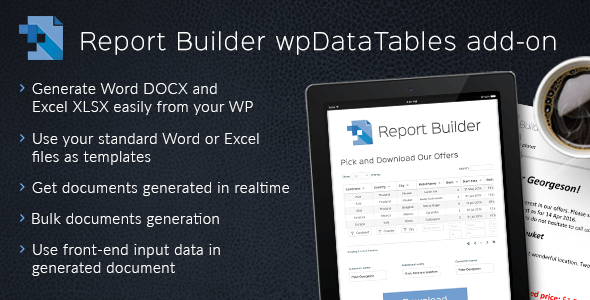Report Builder add-on for wpDataTables 1.3.3 – Generate Word DOCX and Excel XLSX documents