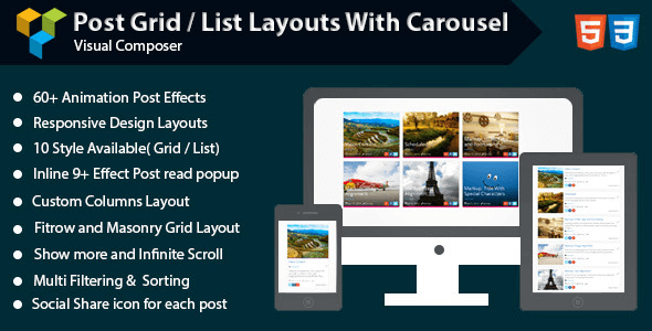 Visual Composer Post Grid List Layout With Carousel 1.6