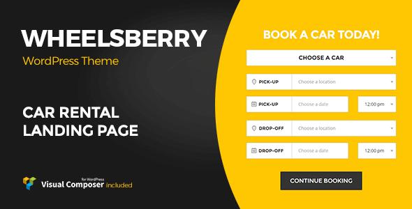 Wheelsberry 1.2.8 – Car Rental WordPress Theme Landing Page