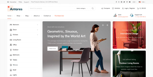 Antares 1.1.0 NULLED – Modern Theme for Furniture and Decor Store